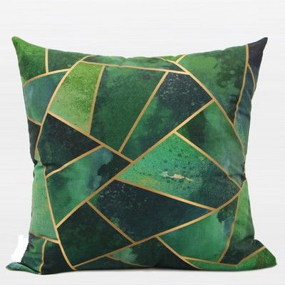 G Home Collection Luxury Geometry Digital Printing Flannel Throw Pillow Color: Green