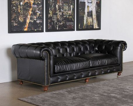 Black Leather Sofa With Nailheads Second Hand Set For Sale Sf209 Tufted In Saddle Nailhead Trim Jtou