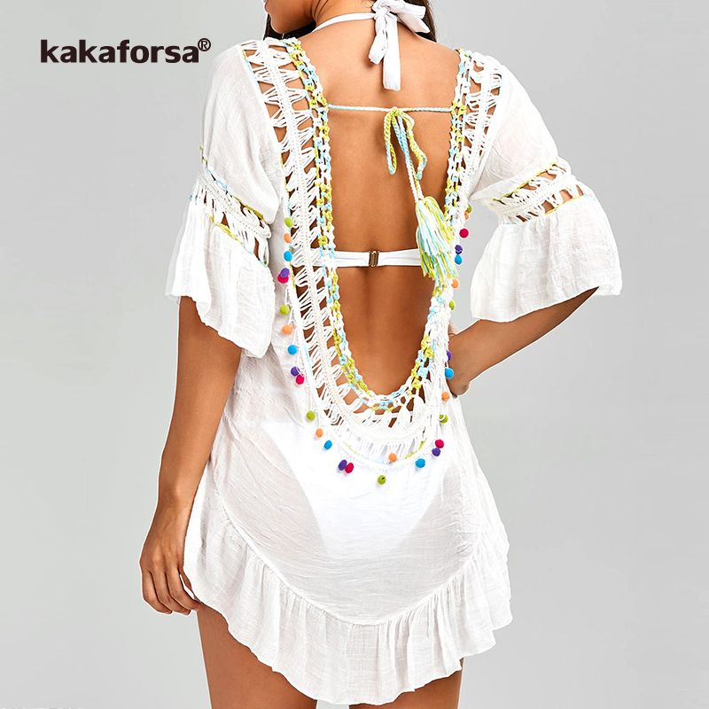 281becb5b4 Kakaforsa 2018 Sexy Crochet Beach Cover Up Open Back Summer Beach Dress  Cotton Ruffle Ball Swimwear Cover Up Solid Robe De Plage-in Cover-Ups from  Sports ...