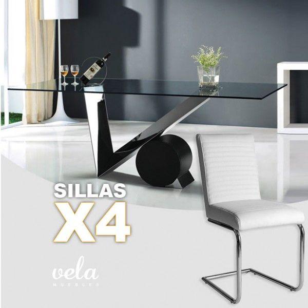 Conjunto de para comedor en cristal transparente y sillas con ...