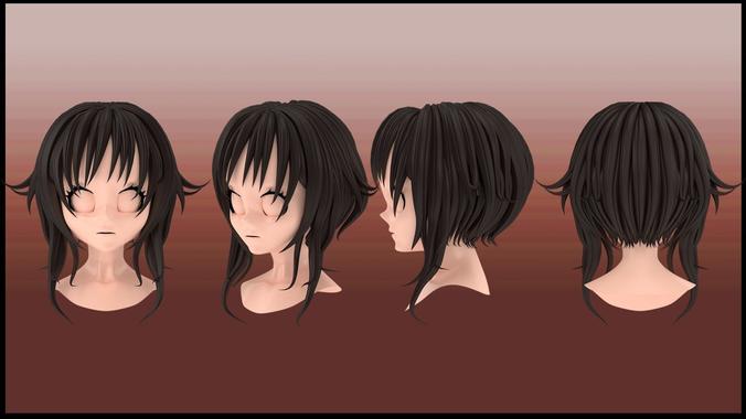 Megumin Hair Style 3d Model Hair Styles Anime Hair Hairstyles 3d