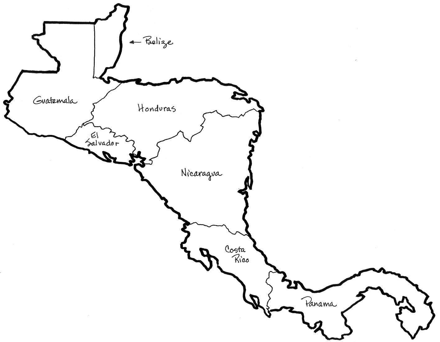 Central America Blank Map Central America Map Coloring | SOCIAL STUDIES | Central america