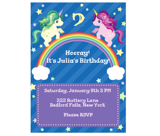 download this unicorn rainbow invitation card and other