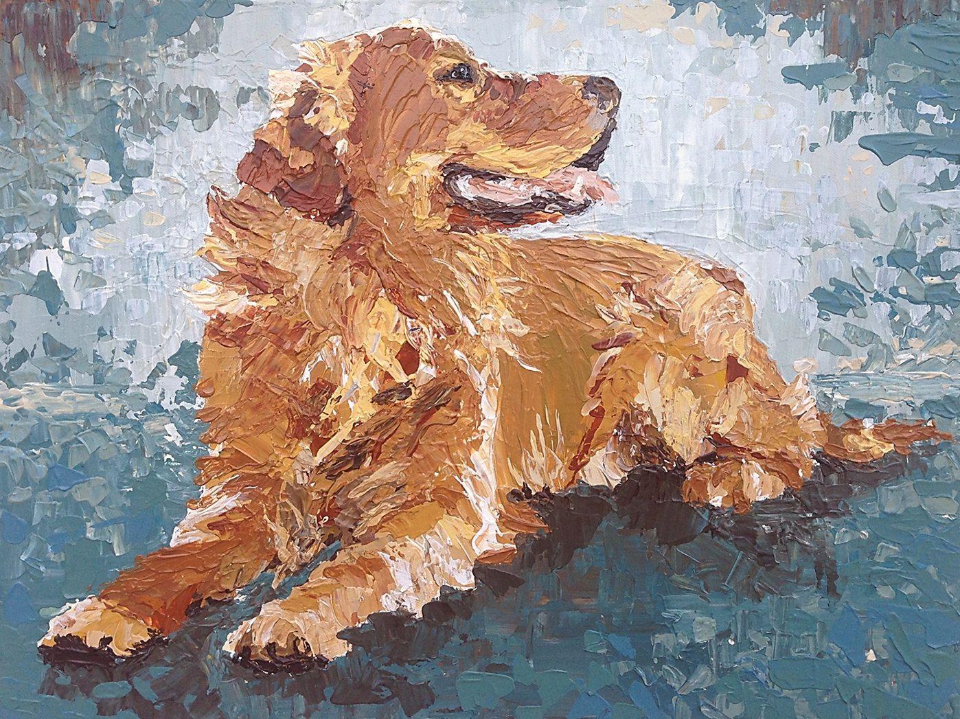 Golden Retriever Artwork 24x18 Original Painting Modern Abstract
