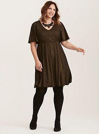 Plus Size Gold Shimmer V-Neck Skater Dress, DEEP BLACK