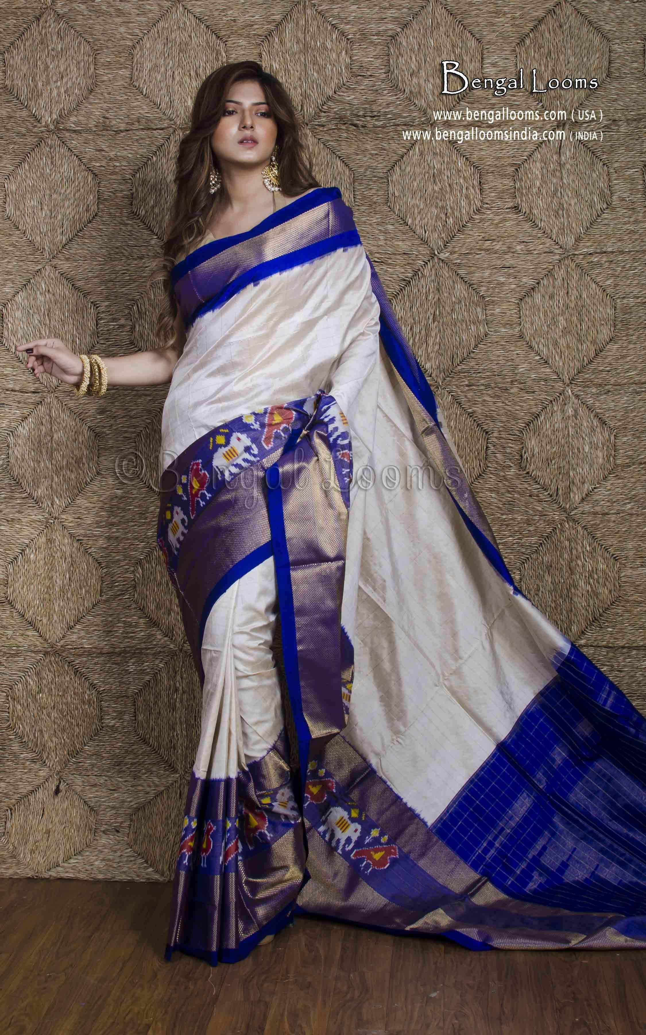 a845df6da97 Double Silk Patola Ikkat Saree in Off White and Blue