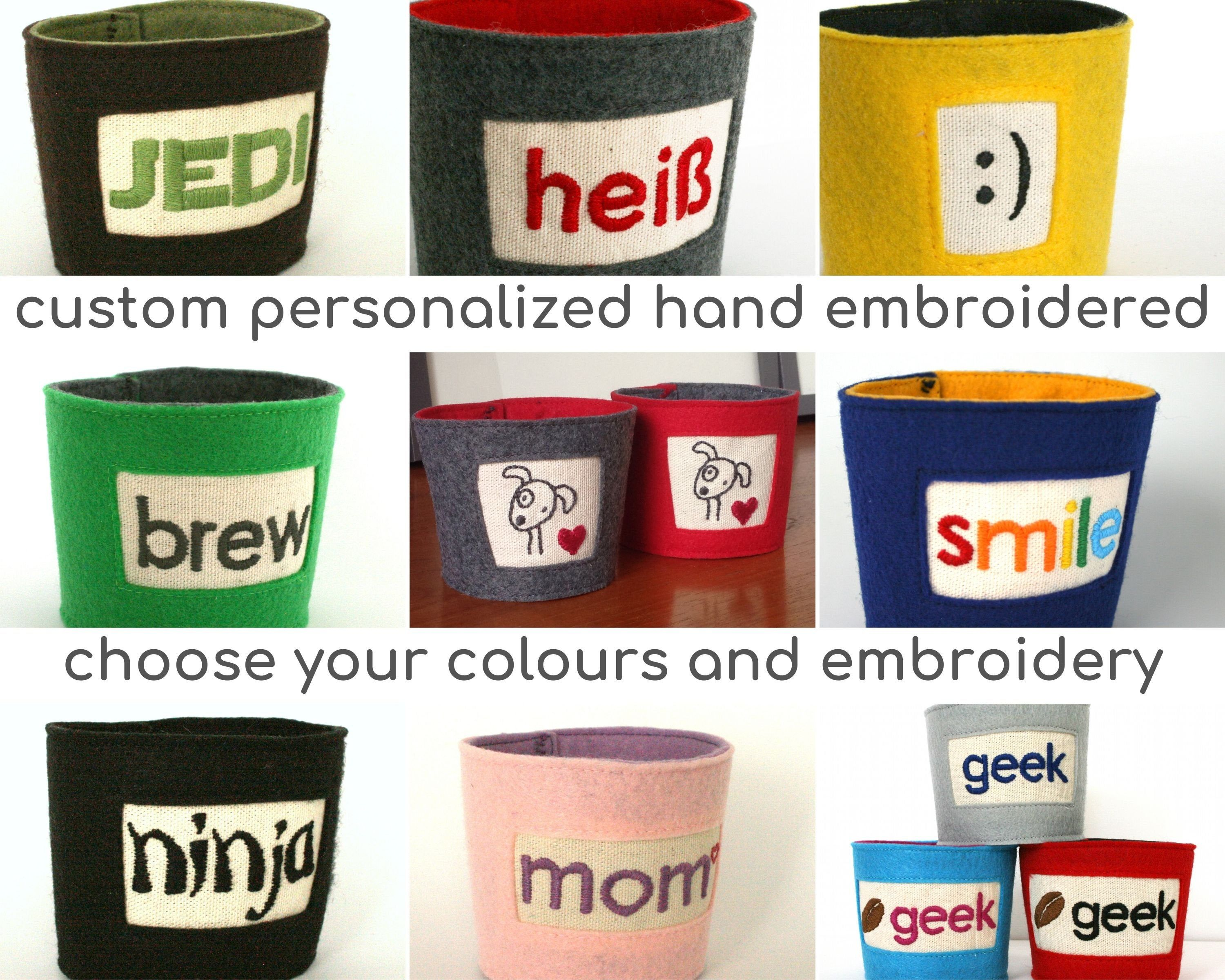 Custom cup cozy coffee cup sleeve personalized teacher