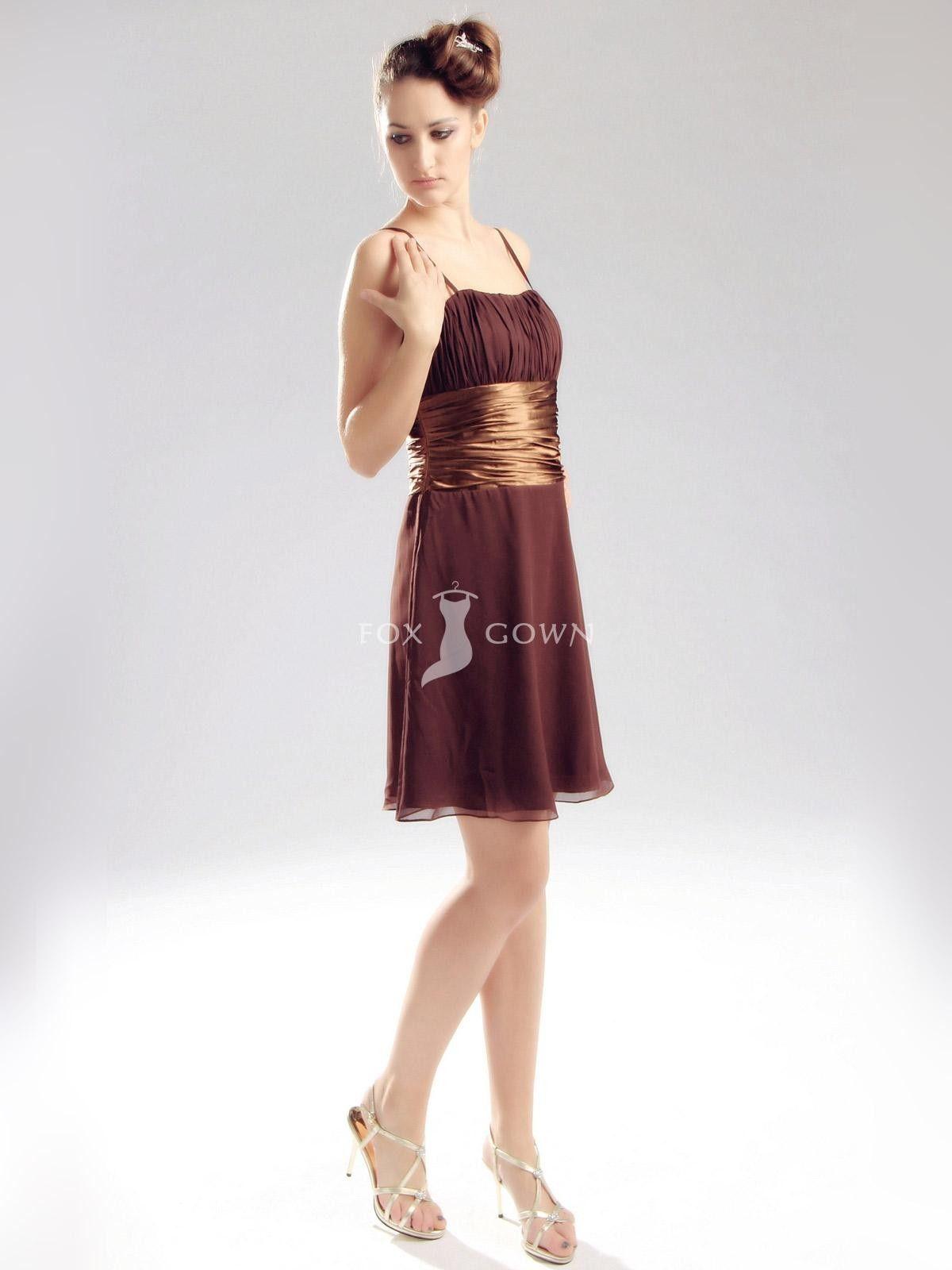 Dunkelbraun Short Cocktail-Kleid mit Gold-Gürtel $195.68 Cocktail ...