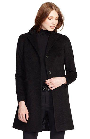 Free shipping and returns on Lauren Ralph Lauren Wool Blend Reefer Coat  (Regular & Petite