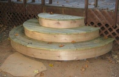 Rounded Steps Round Stairs Garage Stairs Exterior Stairs | Half Moon Wood Steps | Wooden | Hexagon | Diy | Outside Corner Deck | Exterior