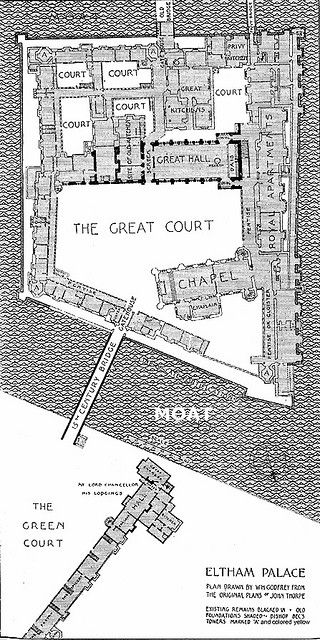 Plan of the old Royal Palace at Eltham in Kent. Henry VIII's favourite place and his royal nursery. I want a moat