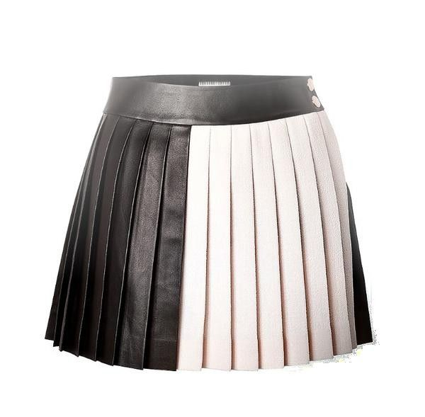 black white leather pleated Skirts - black pleated leather skirt ...