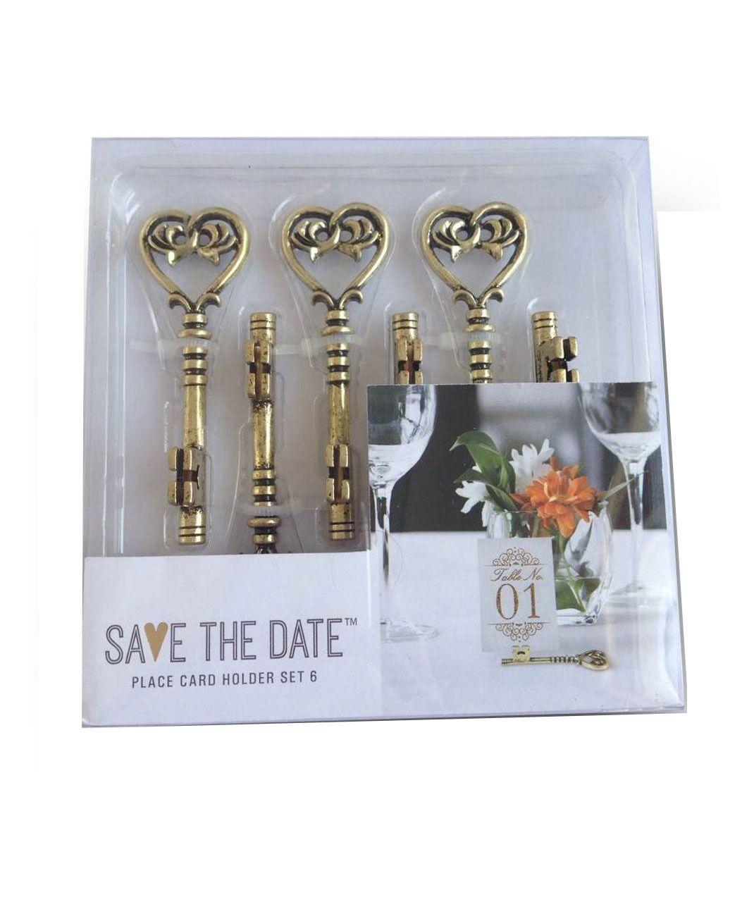 key place card holder set  goldsave the date wedding