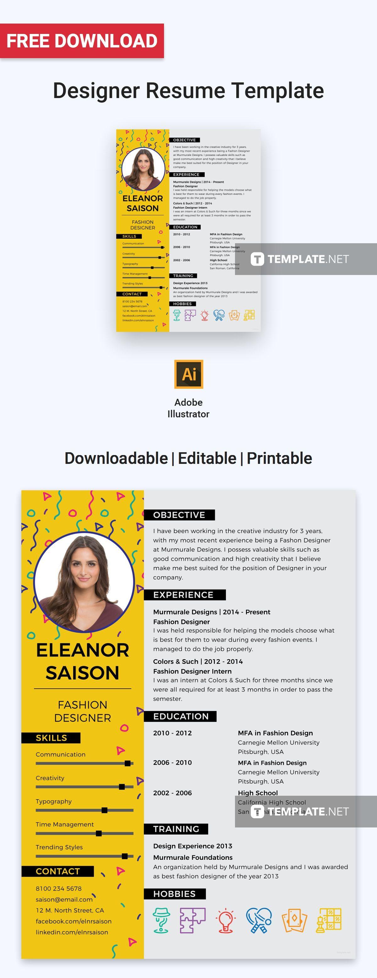 Best fashion designer resumecv template word psd
