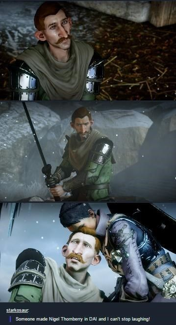 Nigel Thornberry in Dragon Age Inquisition (this is far too perfect for words. who ever made this deserves ALL THE COOKIES)