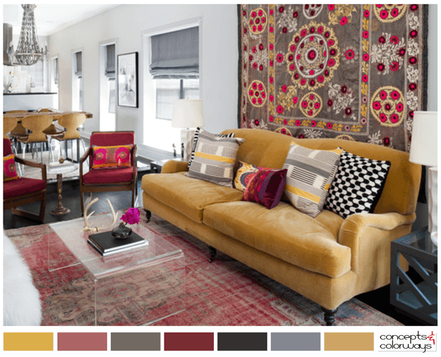 Trendy Tribal Living Room With Color Palette Pantone Y Mustard Yellow Dusty Cedar Faded Red Rust Burgundy Warm Gray