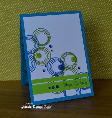 Sazzle Dazzle Crafts:  Bright colours great for a male card