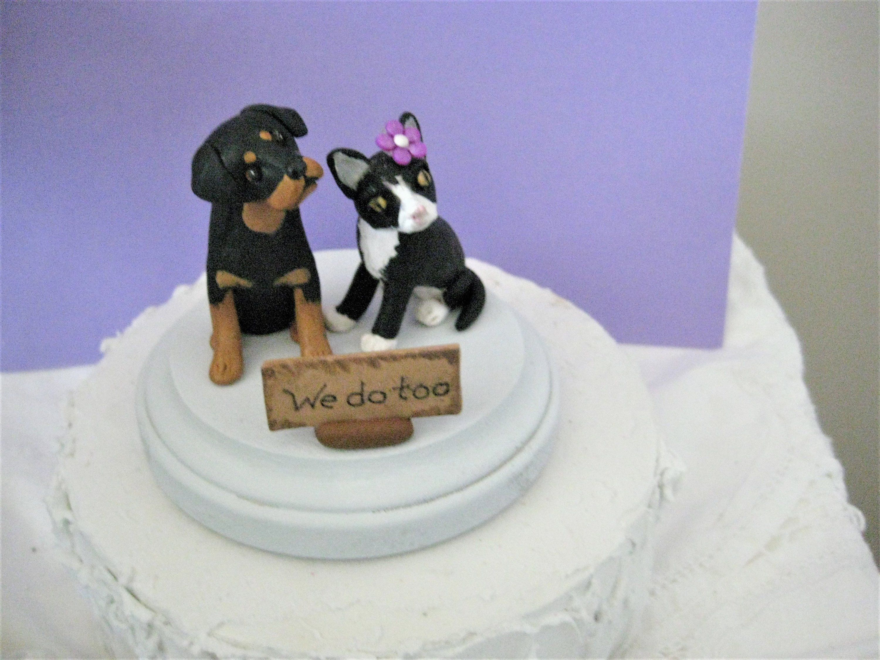 Acrylic or Wood Wedding Couple with Yorkshire Terrier Dog Cake topper