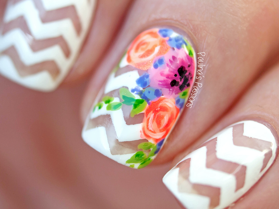 Chevron Nails with Floral Accent by Paulina's Passions