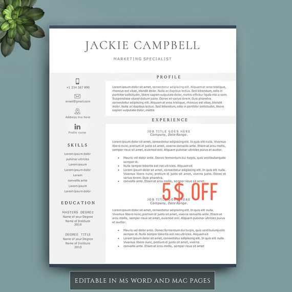 Resume Template, Professional resume template for Word and Pages