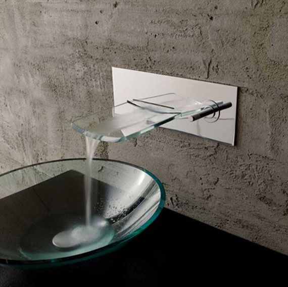 Transparent bowl bathroom sink with waterfall faucet
