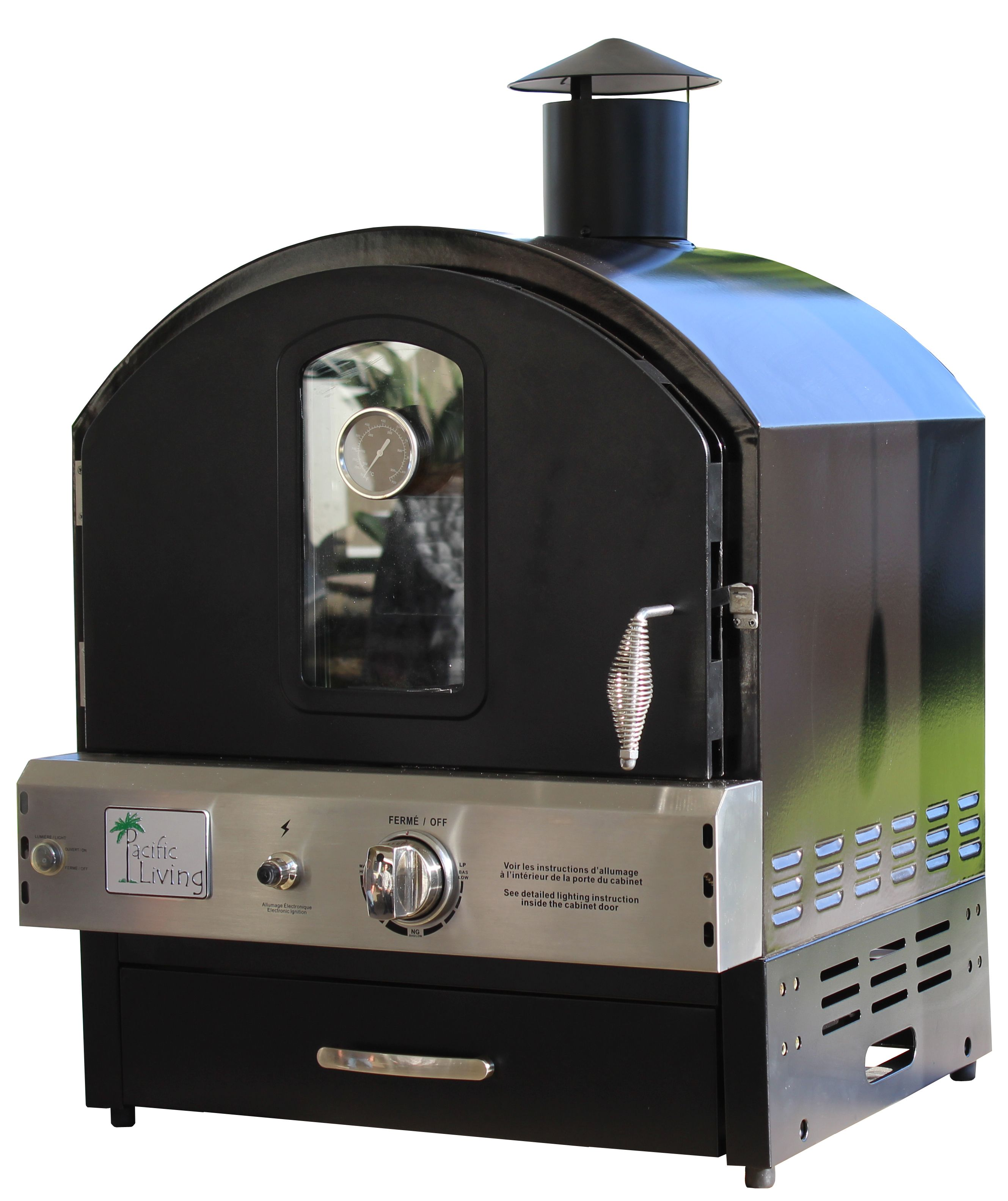 Pacific Living Outdoor Build In Or Counter Top Large Capacity Gas Oven With  Pizza Stone And Smoker Box, Black Powder Coat
