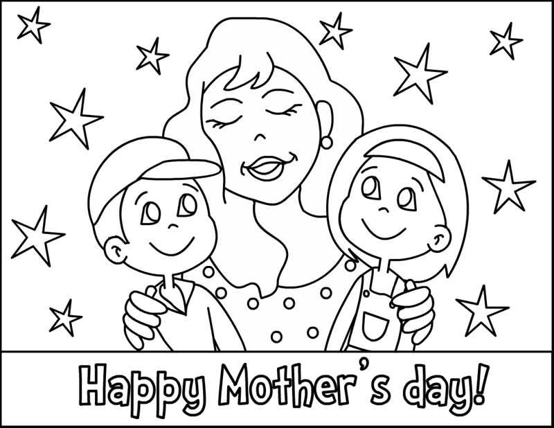 Printable Happy Mothers Day Card With Her Children Coloring Pages For Kids Fargelegge Tegninger
