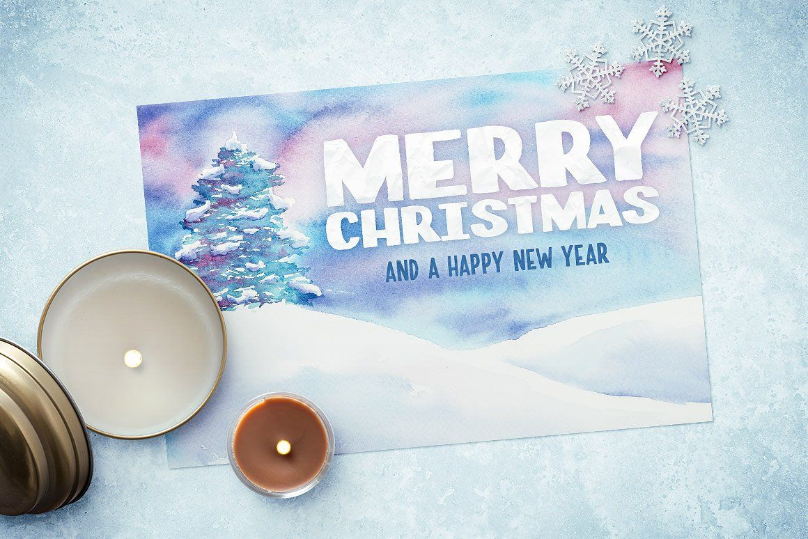 Watercolor christmas card template 2 christmas card templates watercolor christmas card template 2 by design panoply on creativemarket psd templatesbusiness reheart Image collections