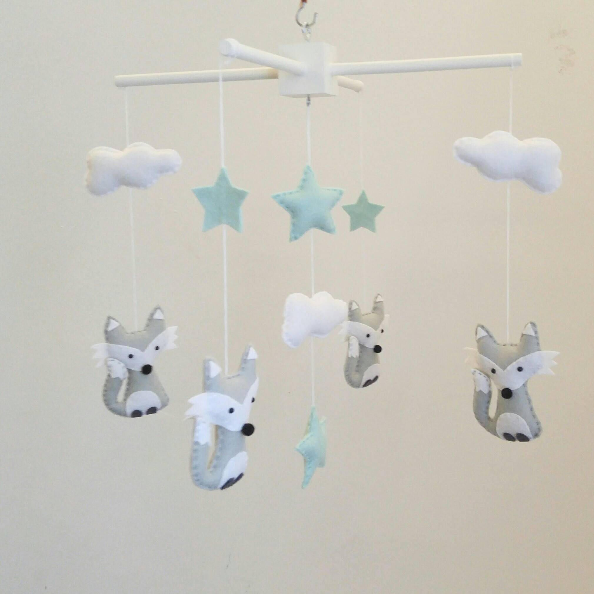 Grey Foxes mint stars and clouds nursery mobile fox baby mobile