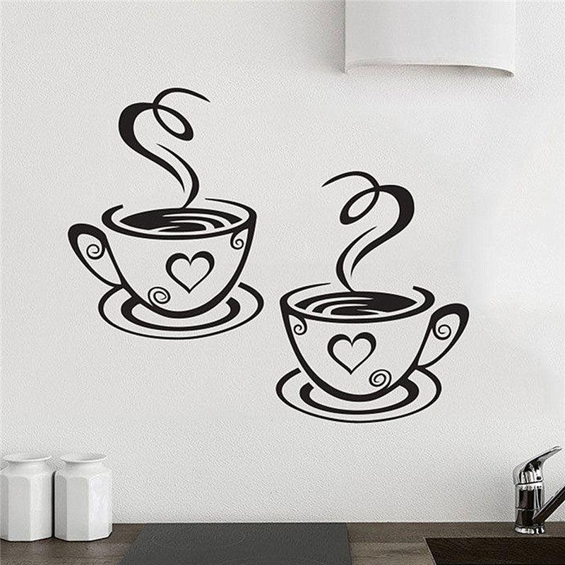 Coffee Cups Cafe Tea Wall Stickers Art Vinyl Decal Kitchen - wandtattoos küche kaffee