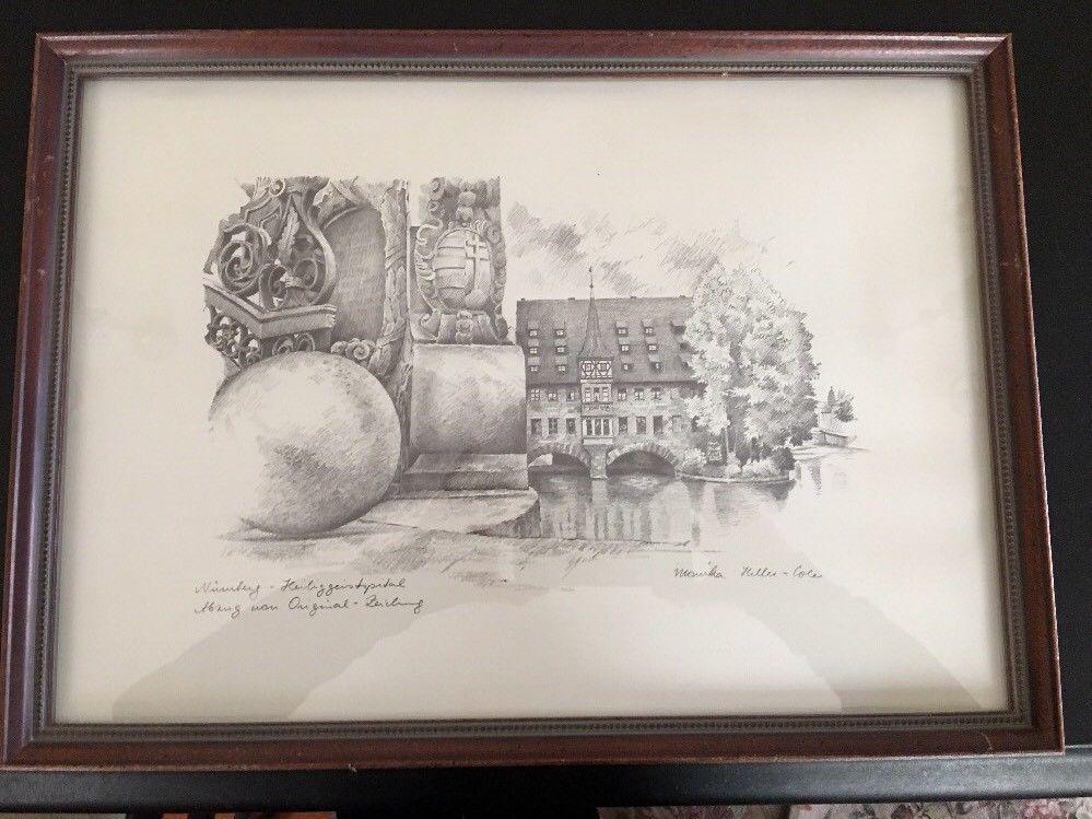 Monika heller cole pencil signed sketch framed germany