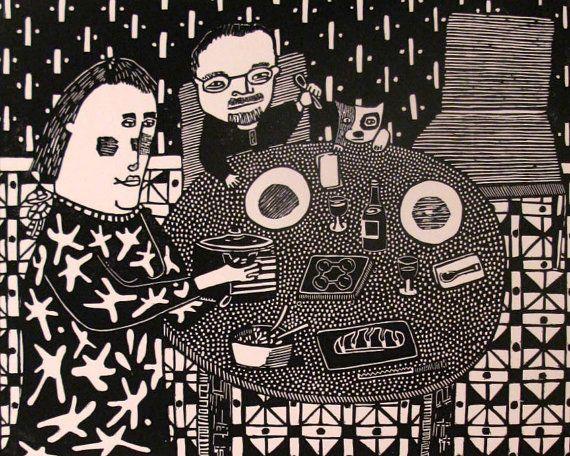 Coq Au Vin Linocut printmaking by StageFortPress on Etsy