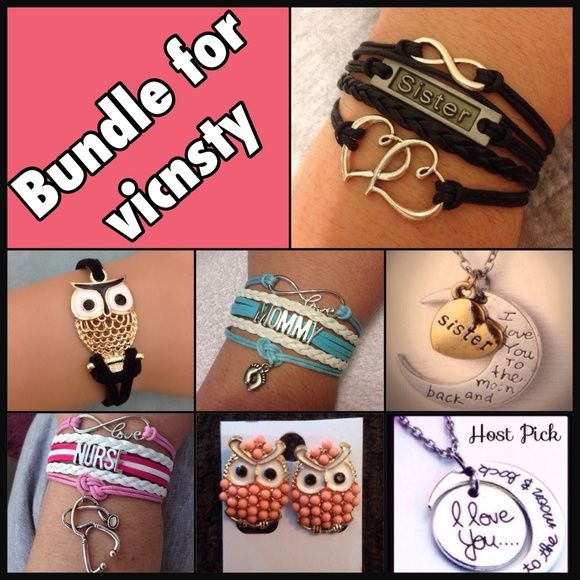 Bundle for @vicnsty Bundle includes 4 bracelets, 1 pair of earrings, and 2 necklaces Jewelry