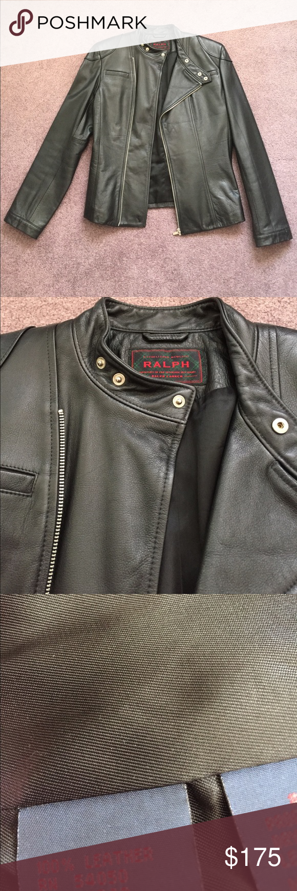 united states the cheapest temperament shoes Ralph Lauren Leather Motto Jacket 100% leather Ralph Lauren ...