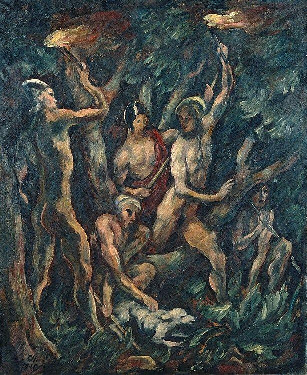 Karl Hofer - Nächtliche Szene im Wald (1910)