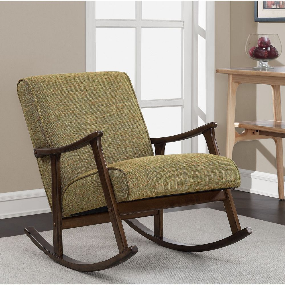 Wooden Rocking Chair Retro Guacamole Mid Century Upholstered Seat