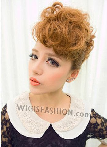 997 Fashion Dark Blonde Hair Extension Curly Hair Bang  Style Code: TBW119   Color:  Dark Blonde   Material: Japanese synthetic fiber  Delivery Time: 10 - 20 working days   Delivery Courier: Hong Kong Post Air Mail