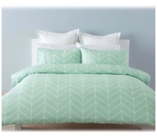 Robin Mint Green Chevron White Single Bed Doona Quilt
