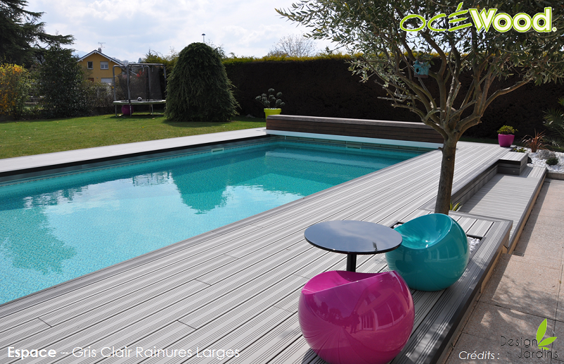 Oc wood plage de piscine en bois composite gris clair for Piscine design plage