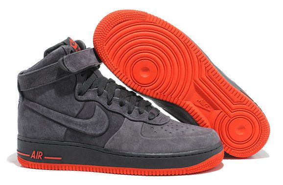 Authentic Nike Air Force 1 High VT PRM 472496 002 Dark Black Bright Red Shoe