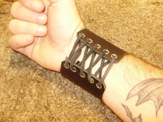 Heavy 9oz leather bracelet with eyelet and by lantredurenard, $15.00