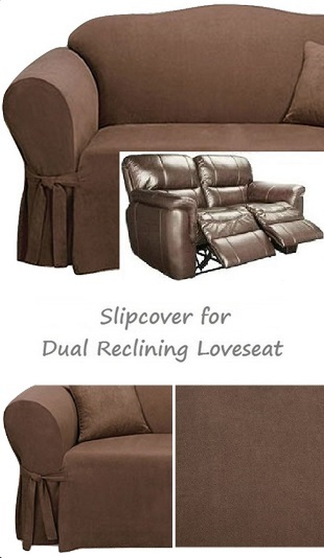 Dual Reclining Loveseat Slipcover Suede Chocolate Sure Fit 2
