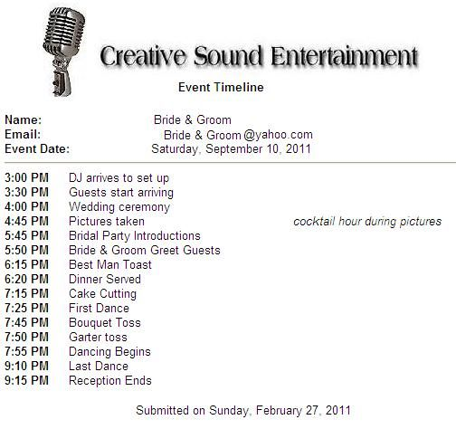 Wedding And Reception Timelines  Wedding Reception Timeline