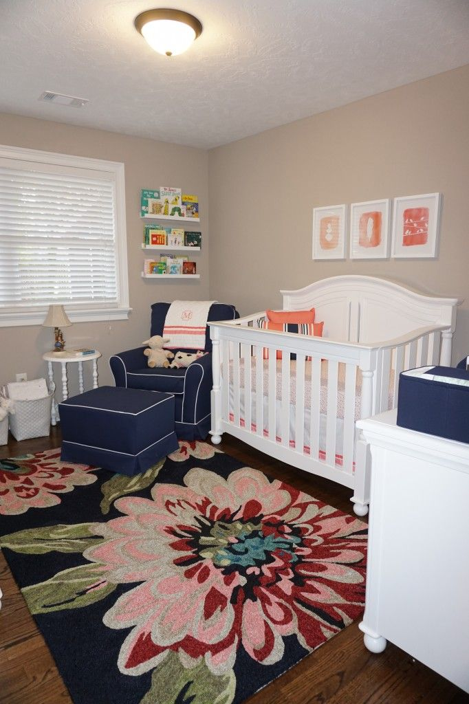 Baby Girl Rug For Bedroom: Navy And Coral Nursery For Sweet Maggie