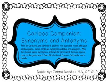 Cariboo Companion Synonyms and Antonyms  sc 1 st  Pinterest & Cariboo Companion: Synonyms and Antonyms | Therapy games Speech ...