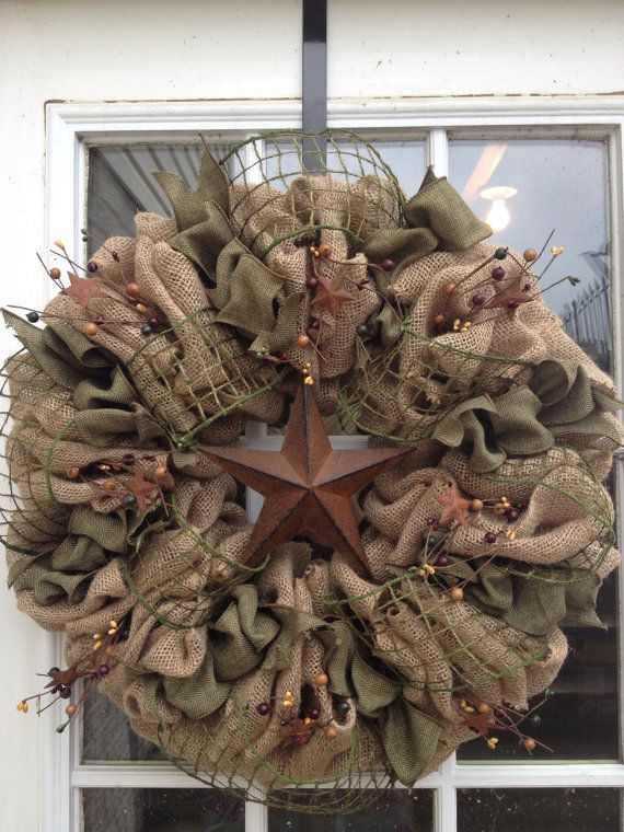 Photo of Items similar to Burlap Wreath, Primitive Wreath, Americana Wreath, Moss Splendor, Burlap and Berries, Star, Pip Berries, Decor Wreath ~ Door Wreath on Etsy