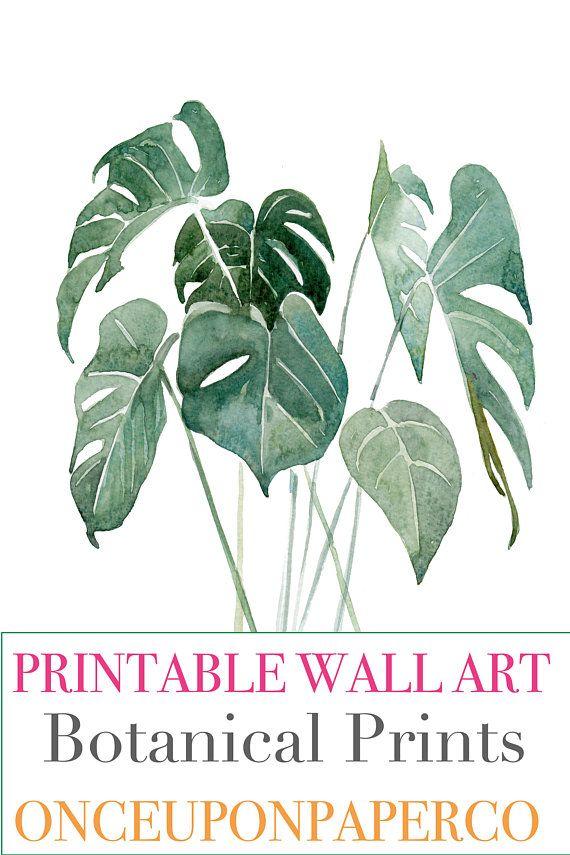 Monstera Wall Print Digital Plant Leaf Leaves Tropical Printable Art