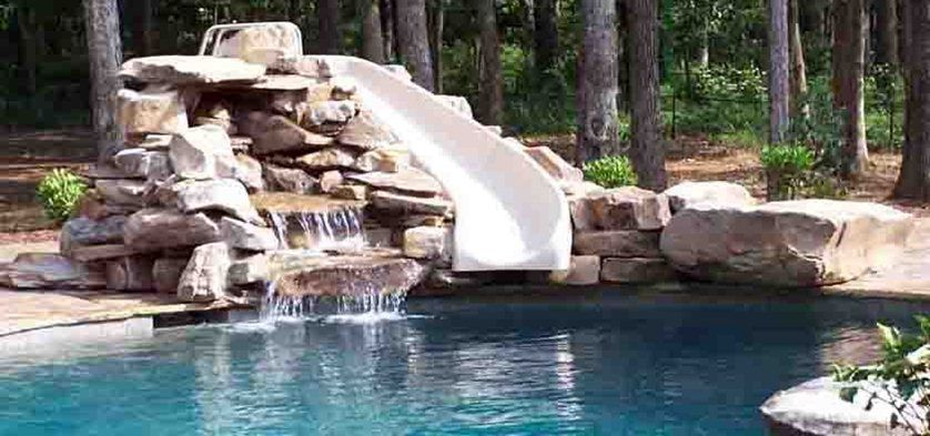 Inground Pools With Rock Slides | Green Acres Pool With Rock Slide And  Water Feature