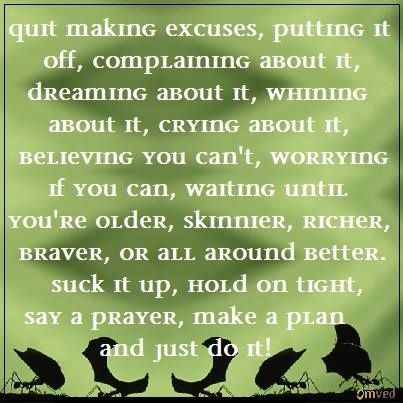 """""""Quit making excuses, putting it off, complaining about it, dreaming about it, whining about it, crying about it, believing you can't, worrying if you can, waiting until you're older, skinnier, richer, braver, or all around better. suck it up, hold on tight, say a prayer, make plan and just do it"""" - Nike#quote"""
