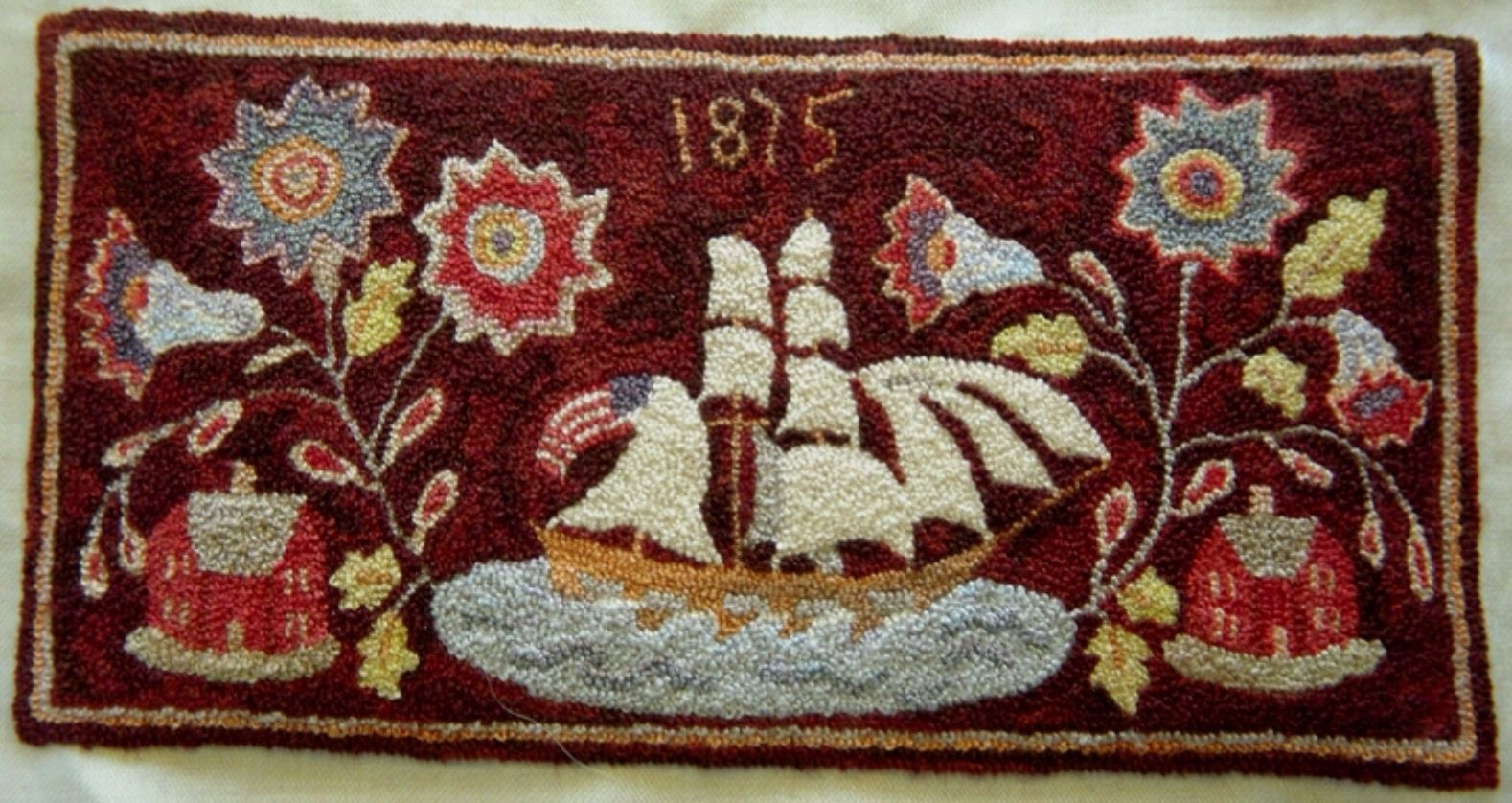 Ship French Knot Rug By Pat Hartman Miniature Embroidery Miniature Needlepoint French Knot
